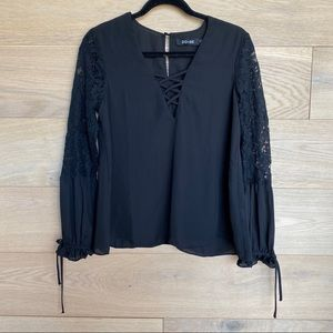 Do+Be Black Peasant Blouse